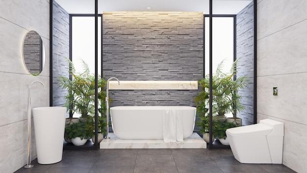 Bagno padronale, arredamento moderno del bagno, vasca bianca con piastrelle in marmo e muro in pietra scura, 3drender