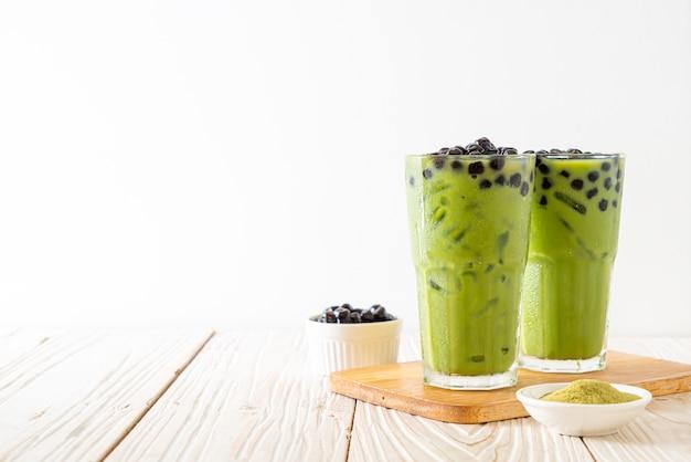 Tè verde matcha latte con bolla