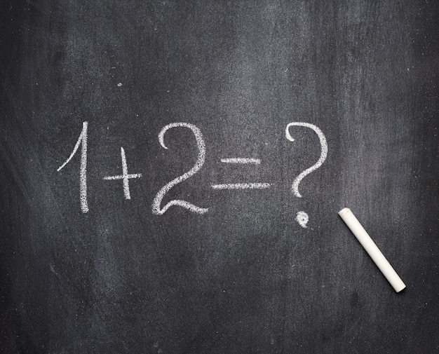 Esempio di matematica scritto in gesso bianco su una lavagna nera e gesso bianco