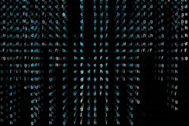 Matrix alfabeto dimensione profonda colore blu testo astratto sfondo