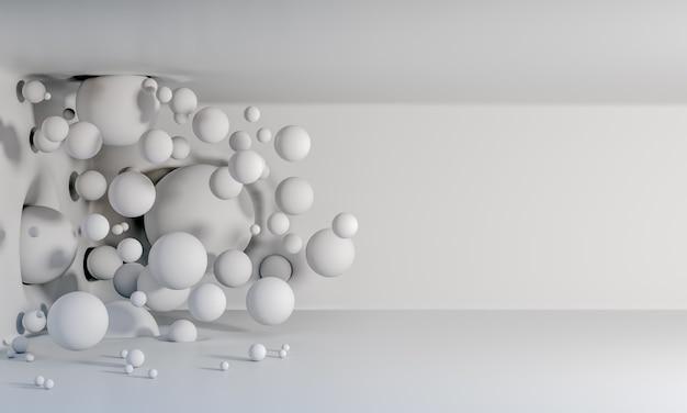 Rendering 3d di sfondo di palloncini bianchi opachi