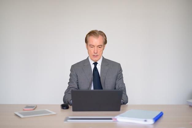 Uomo d'affari bello maturo in vestito facendo uso del computer portatile al lavoro