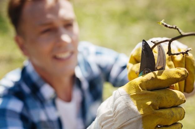 Uomo maturo che indossa guanti di gomma gialli che tagliano i rami nel fiore degli anni