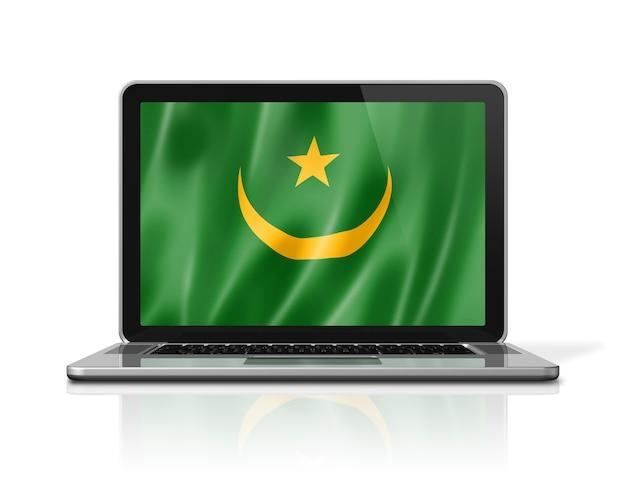 Bandiera della mauritania sullo schermo del computer portatile isolato su bianco. rendering di illustrazione 3d.