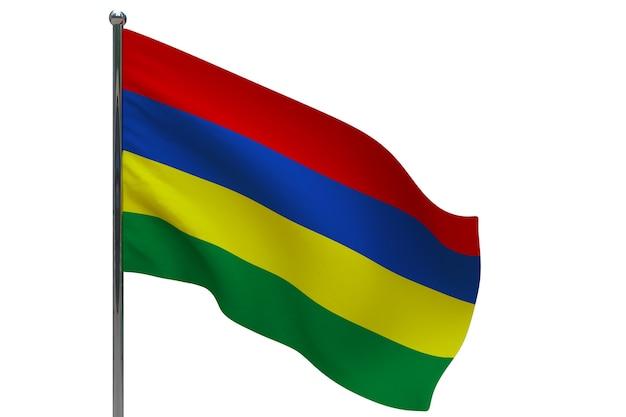 Bandiera delle mauritius in pole. pennone in metallo. bandiera nazionale di mauritius 3d'illustrazione su bianco