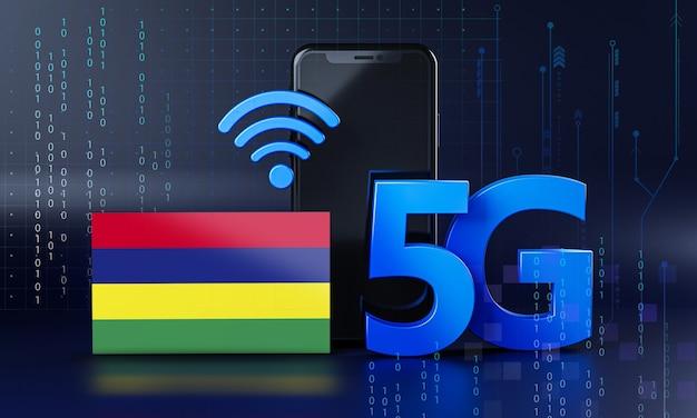 Mauritius pronta per il concetto di connessione 5g. sfondo di tecnologia smartphone rendering 3d