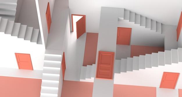 Labirinto di porte e scale. copia spazio. illustrazione 3d.
