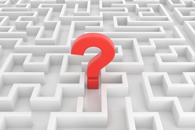 Il labirinto con i concetti di soluzione di ricerca. rendering 3d.