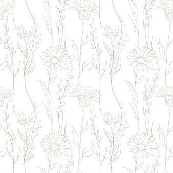 Modello senza cuciture di fiori di prato fiori estivi matita fiori abbozzati modello di campo di fiori