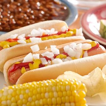 Pasto con hotsdogs con condimenti