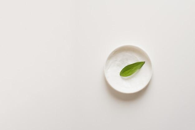 Mezzi per la cura della pelle, il ringiovanimento e l'idratazione del viso. lozione crema idratante a foglia verde. il concetto di cura di sé e cura della pelle
