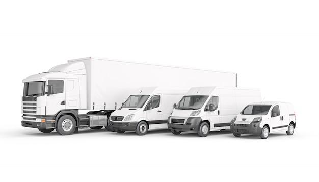 Mezzi di trasporto merci di colore bianco.