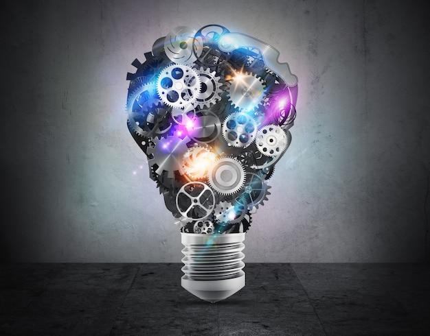 Meccanismi di ingranaggi luminosi che formano una lampadina