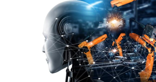 Robot cyborg dell'industria meccanizzata e bracci robotici nella futura fabbrica