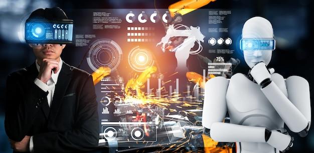 Robot industriale meccanizzato e lavoratore umano che lavorano insieme nella futura fabbrica