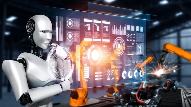 Robot industriale meccanizzato e bracci robotici per l'assemblaggio nella produzione in fabbrica.