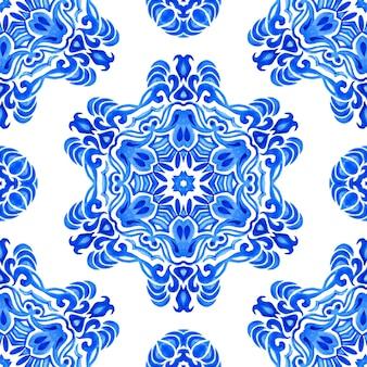 Medaglione damascato acquerello blu e bianco mano piastrelle disegnate senza soluzione di continuità ornamentale modello di vernice