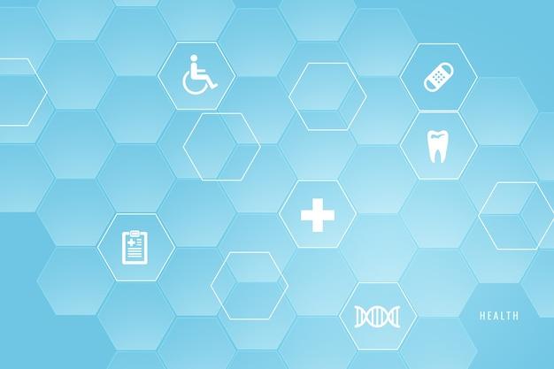 Sfondo astratto medico con icone di salute adatte per l'assistenza sanitaria e l'argomento medico