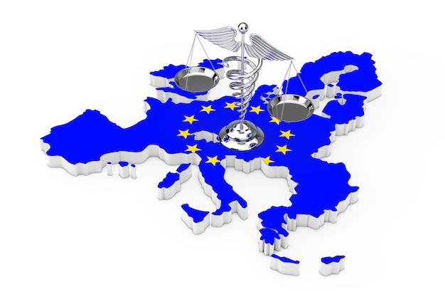 Simbolo medico del caduceo come scale sulla mappa dell'unione europea con la bandiera dell'ue su sfondo bianco. rendering 3d Foto Premium