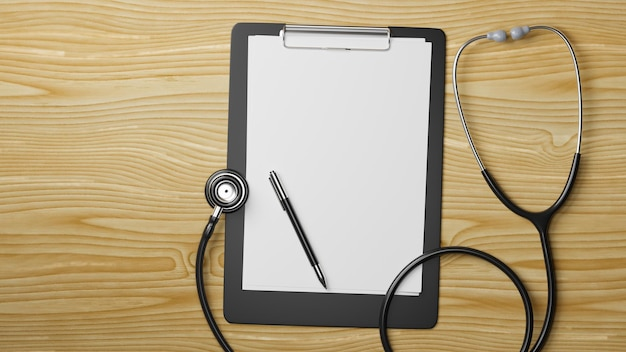 Appunti medici con foglio bianco e stetoscopio su tavola di legno rendering 3d