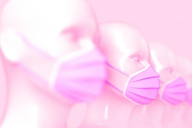 Concetto medico. un gruppo di donne bianche lucide moda manichino si dirige in piedi in fila in maschere mediche rosa brillante