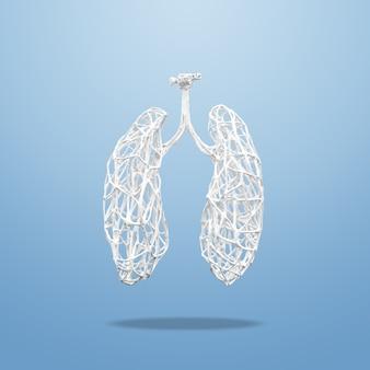 Concetto medico fatto di rami di legno bianchi a forma di polmoni umani