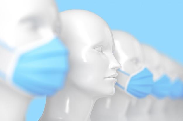 Il concetto medico diffonde l'infezione tra lucenti teste bianche di manichini in piedi senza maschera in una fila di altre teste in maschera medica blu brillante. illustrazione 3d