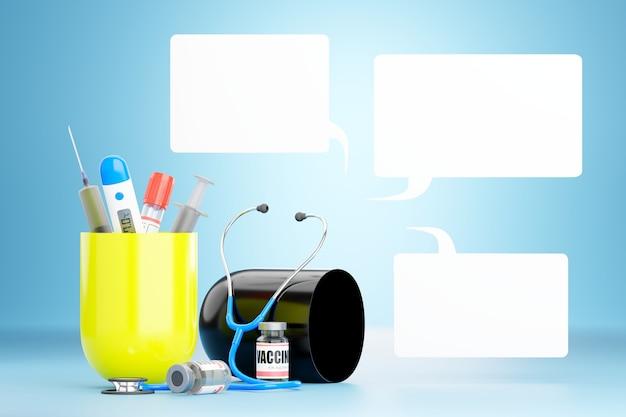 Dispositivo medico in una capsula e una casella di testo vuota per il riempimento di testo 3d rendering illustrazione