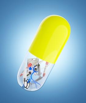 Il dispositivo medico è confezionato in una capsula antibiotica gialla e trasparente. illustrazione di rendering 3d.