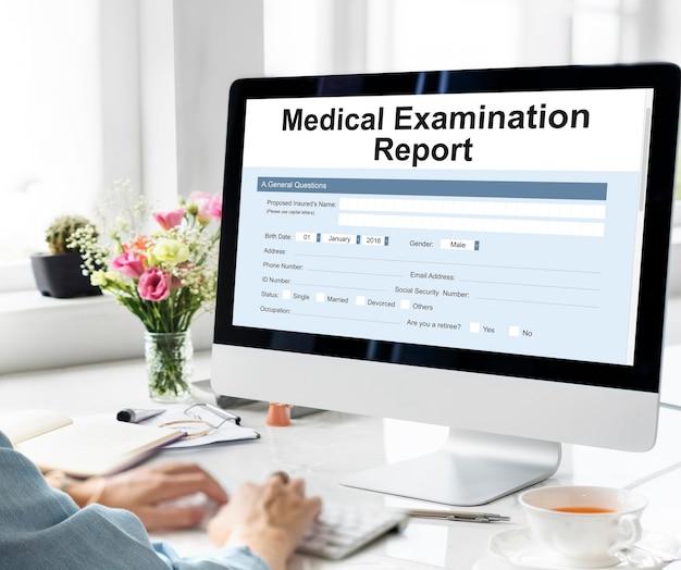 Rapporto dell'esame medico record paziente concept