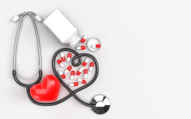 Il concetto medico di sanità e lo stetoscopio servono con la bottiglia rossa della droga delle compresse delle pillole e del cuore. protegge la diffusione di germi e batteri ed evita le infezioni del virus corona covid-19