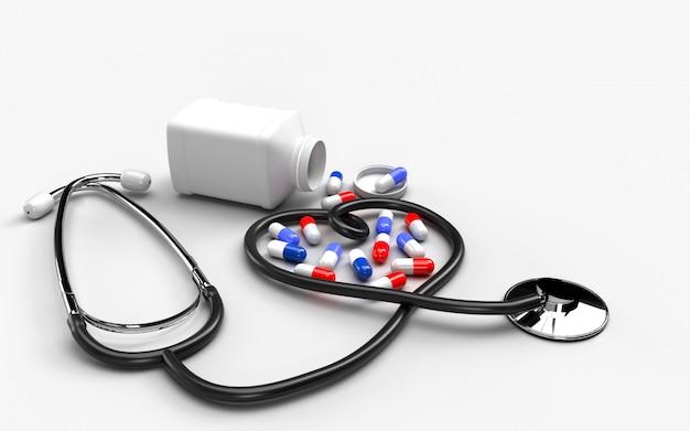 Concetto di assistenza sanitaria medica con pillole e compresse fuoriuscita di una bottiglia di droga. la protezione previene la diffusione di germi e batteri ed evita le infezioni del virus corona covid-19. rendering 3d
