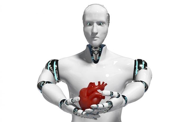 Robot medico di concetto del robot per uso rappresentazione bianca medica del fondo 3d Foto Premium