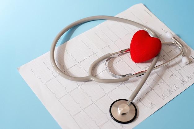Stetoscopio medico e cuore rosso che si trovano su un cardiogramma