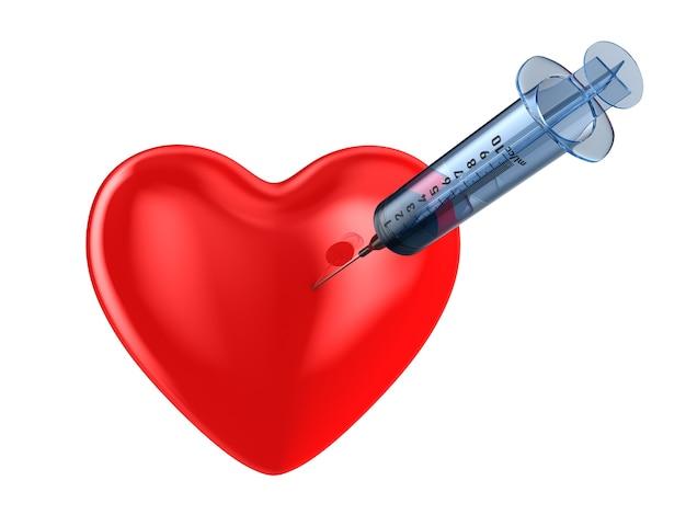 Siringa e cuore medici su spazio bianco