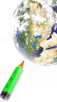 La siringa medica con un ago ha vaccinato il pianeta terra. rappresentazione 3d. elementi di questa immagine forniti dalla nasa.