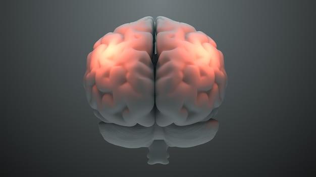 Il tema medico 3d rende il cervello con zone arancioni che simboleggiano il danno o il dolore. concetto di zona di mal di testa. attivazione della zona di intelligenza del cervello.