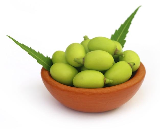 Frutti medicinali del neem su una ciotola marrone