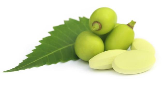 Frutti medicinali di neem con compresse su sfondo bianco