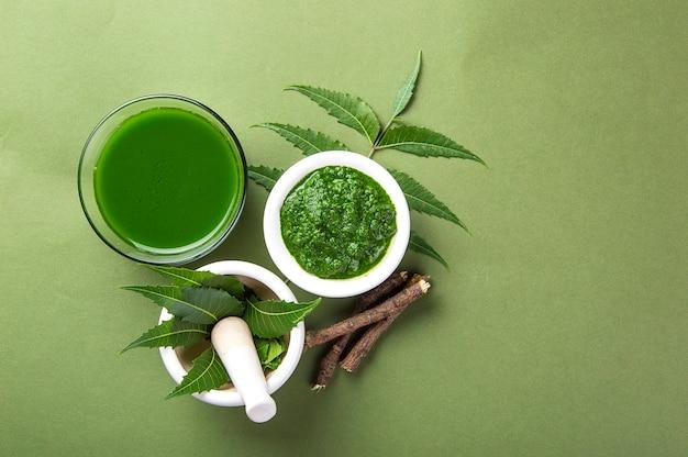Foglie medicinali di neem in mortaio e pestello con pasta di neem, succo e ramoscelli su verde