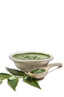 Medicinali foglie di neem con pasta di neem in cucchiaio e piastra sulla superficie bianca (azadirachta indica)