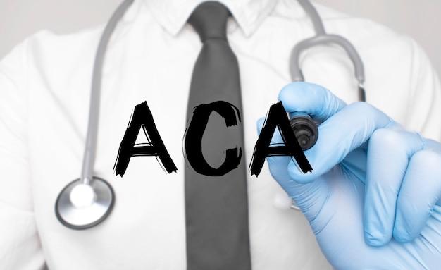 Concetto di medicina. il dottore scrive la parola aca. immagine di una mano che tiene un pennarello isolato su uno sfondo bianco.