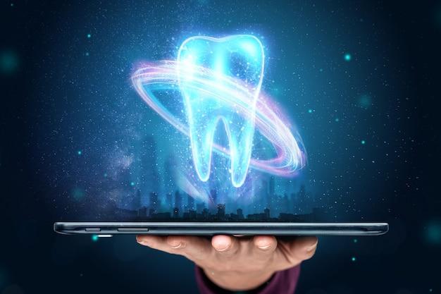 Concetto di medicina, nuove tecnologie, protesi dentali
