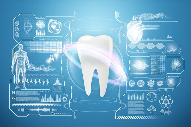 Concetto di medicina, nuove tecnologie, igiene orale, protesi dentali