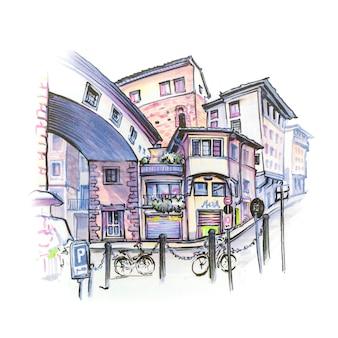 Strada medievale con divertenti case nel centro storico di firenze, toscana, italia. fodera e pennarelli realizzati con schizzo