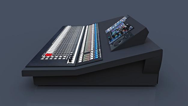 Console di missaggio grigia di medie dimensioni per lavoro in studio e spettacoli dal vivo su sfondo grigio. rendering 3d.