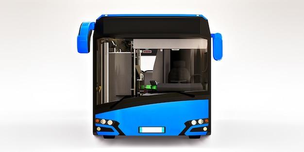 Autobus urbano di mediun blu su sfondo bianco isolato