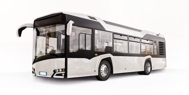 Autobus urbano mediun bianco su sfondo bianco isolato. rendering 3d.