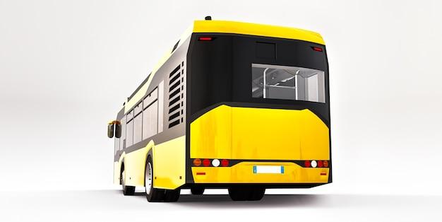 Autobus urbano giallo medio su sfondo bianco. rendering 3d.