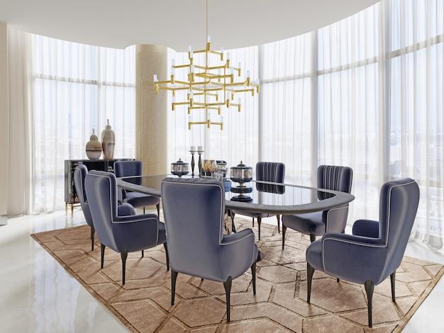 Una sala riunioni in stile art déco con un grande tavolo e lussuose poltrone morbide. rendering 3d.